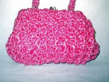 Poseta vintage impletita roz anii '60
