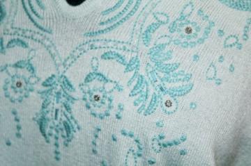 Pulover retro bleu broderie anii '90