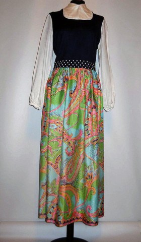 Rochie cu print vegetal in tonuri pastel anii '70
