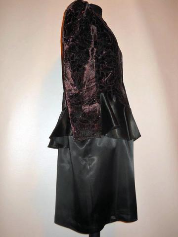 Rochie de ocazie din catifea si satin anii '70 - '80