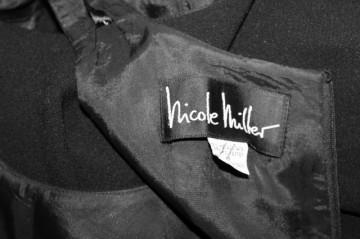 """Rochie de seara din crepe negru """"Nicole Miller"""" anii '80 - '90"""