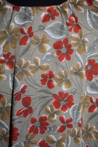 Rochie print floral cărămiziu pe fond kaki anii 70