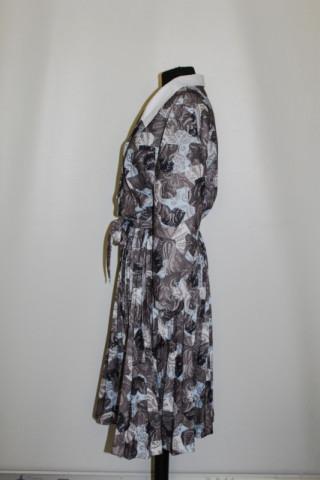 Rochie print vegetal si fusta plisata anii '70