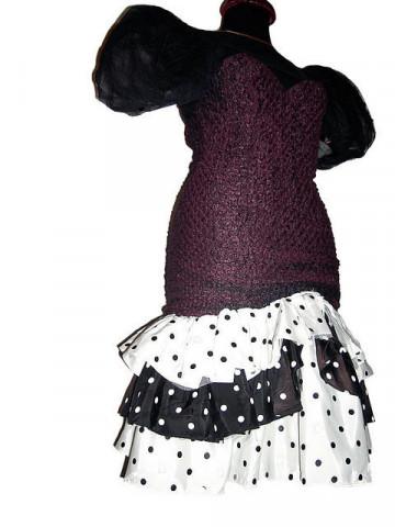 Rochie retro de ocazie cu bust fronsat si fusta spaniola cu buline anii '80