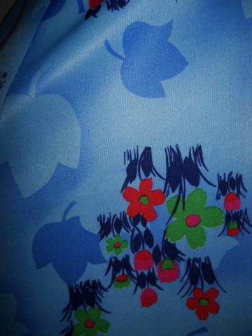 Rochie vintage albastra frunze si flori anii '70