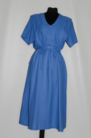 Rochie vintage bleu pliseuri pe bust anii '70