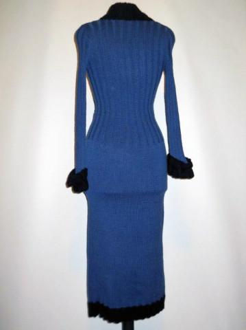 Rochie vintage din lana bicolora anii '70