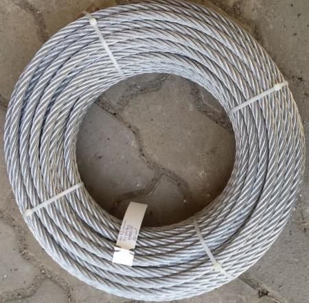Cablu otel zincat Ø10mm structura 6x19,-FC 5700Kgf