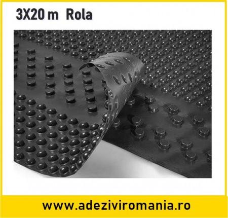 Membrana cramponata terra hidroizolatii fundatie latime 3 m
