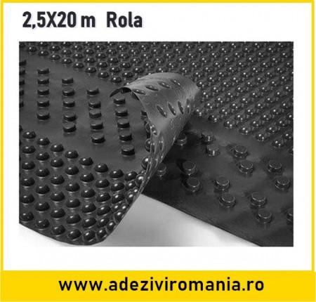 Membrana cramponata pentru hidroizolatie fundatie latime 2,5 m