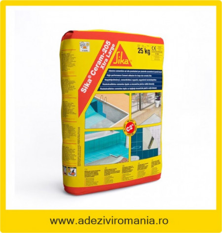 Adeziv gri flexibil gresie faianta SikaCeram 205 25 kg culoare gri