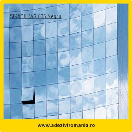 Silicon negru pt sticla metal Sikasil WS 605 Hyflex ambalaj 600 ml