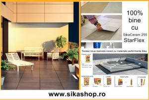 Adeziv flexibil de exterior pentru terasa cu hidroizolatie Sika Ceram 255 StarFlex gri