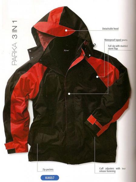 Geaca de iarna toamna 3 in 1 negru/rosu Outdoor LICHIDARE DE STOC