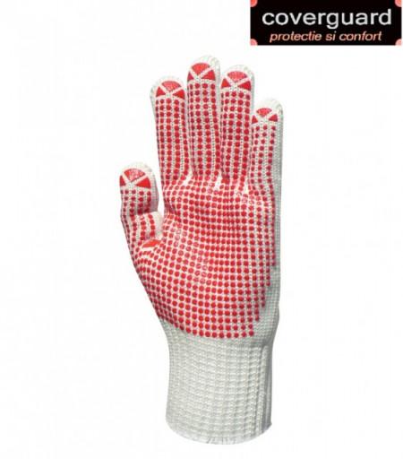 Manusi de protectie groase, rezistente la uzura, cu picouri rosii plate