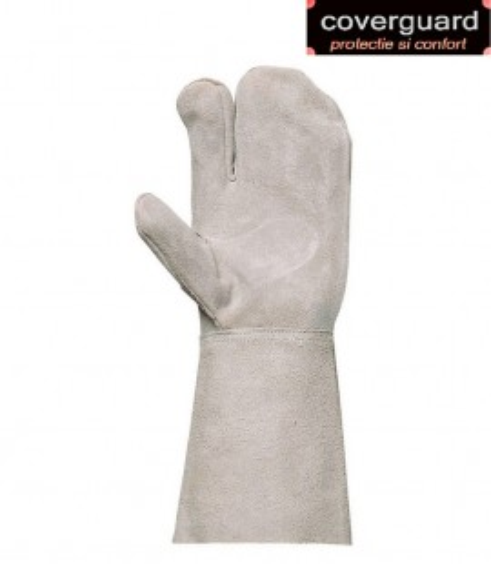 Mănuși sudor cu trei degete din piele şpalt bovină
