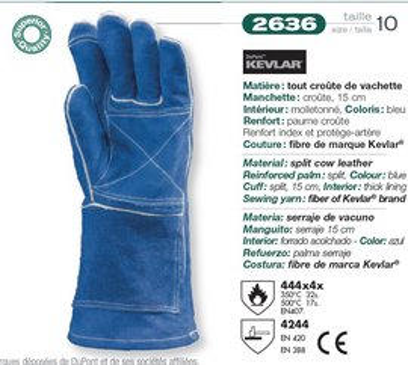 Manusi sudor piele termorezistente temparatura 500 grade Albastre