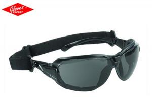 Ochelar protectie ramă neagră + bandă de cauciuc şi lentile fumurii antiaburire TECHNILUX