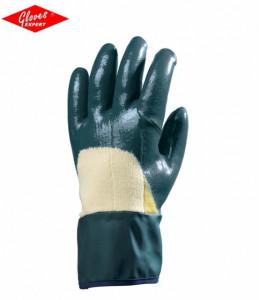 Mănuşi fabricate din Kevlar pe palmă şi bumbac pe dosul palmei, dublu imersate în nitril albastru
