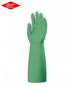 Manusi protectie acrilonitril verde, fără căptuşeală, 0,56 mm gros (NBR) rezistente la acizi, baze, ulei, grăsime şi chimicale