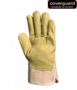 Manusi de protectie din piele sintetica galbena, impermeabila