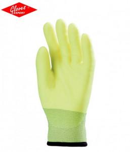 Mănuși de bază din poliester rezistente la abraziune, galben fluo