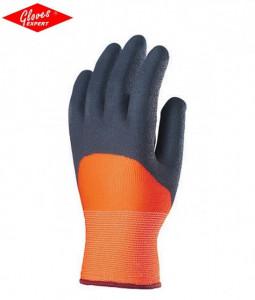 Mănuşi de bază poliester tricotate, de culoare fluo oranj, rezistente la uzură