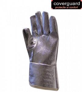 Mănuși aluminizate cu fir aramidic, 350 g/m2, termorezistentă și rezistentă la tăiere,manseta 28 cm