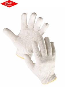Mănuşi tricotate din poliester-bumbac albit AUK
