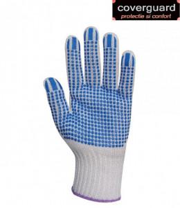 Manusi textile antialunecare, cu picouri albastre plate, rezistente la uzura