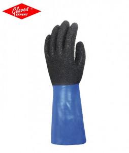 Manusi preotectie suprafaţă netedă de nailon imersată în PVC negru/albastru