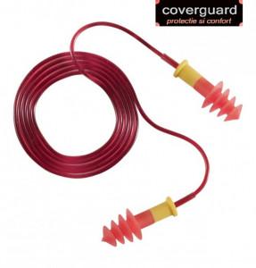 Antifoane interne spălabile, roșii, reutilizabile, cauciuc termoplastic moale (TPR), șnur PVC detaşabil