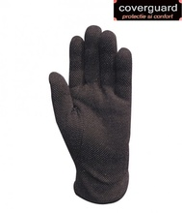 Manusi protectie din bumbac 100% negru, cu picouri PVC