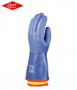 Manusi protectie bumbac imersat in PVC albastru, antiderapant