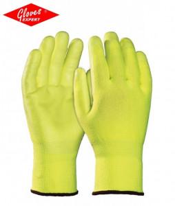 Mănuşi de bază HDPE galben fluo tricotate, rezistente la tăiere
