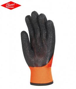 Manusi de protectie,nylon portocaliu fluo de mare vizibilitate, elastice, imersate în PVC negru - INDISPONIBIL