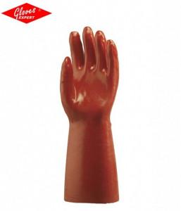 Manusi de protectie bumbac imersat în PVC roşu rezistent la umiditate