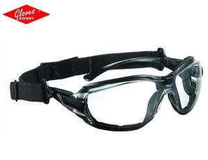 Ochelari protectie  ramă neagră + bandă de cauciuc şi lentile incolore antiaburire TECHNILUX