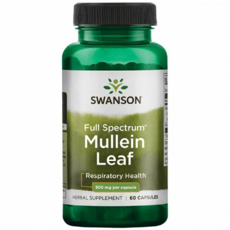 Mullein Leaf - Lumanarica 500 mg 60 capsule Swanson - Respiratie Usoara