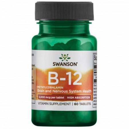 Vitamin B12 Methylcobalamin- Vitamina B-12 Metilcobalamina 5000 mcg 60 tablete Swanson