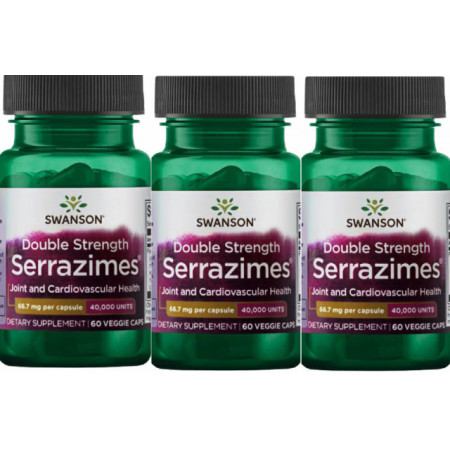 Pachet 3x Double Strenght Serrazimes® - Serrapeptase 40,000 UI 180 capsule Livrare Gratuita