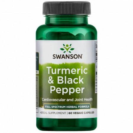 Turmeric& Black Pepper- Turmeric cu Piper negru 60 veggie capsules Swanson