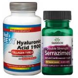 Pachet Acid Hialuronic 1900 cu Colagen de tip II si Condroitina si Serrazimes 40.000 UI Swanson