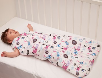Sac de dormit bebe 6-12 luni BEBEDECO cu dubla deschidere SOMN USOR bleu-cod SB0180