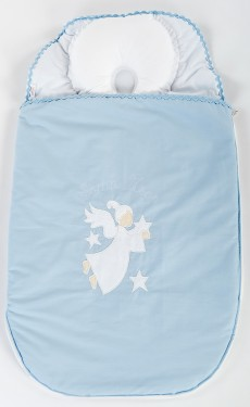 Sac de dormit bebe cu perna pt formarea capului BEBEDECO 0-6 luni SOMN USOR bleu