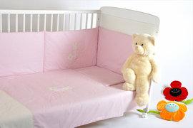 Lenjerie patut bebelusI BEBEDECO 3 piese IEPURASUL SOMNOROS roz -cod LB01