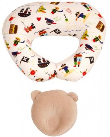 Perna pentru alaptat Bebedeco Pirati + Perna pentru cap bebe