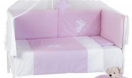 Set aparatoare laterale pentru patut BEBEDECO Somn Usor roz alb- cod ABP01