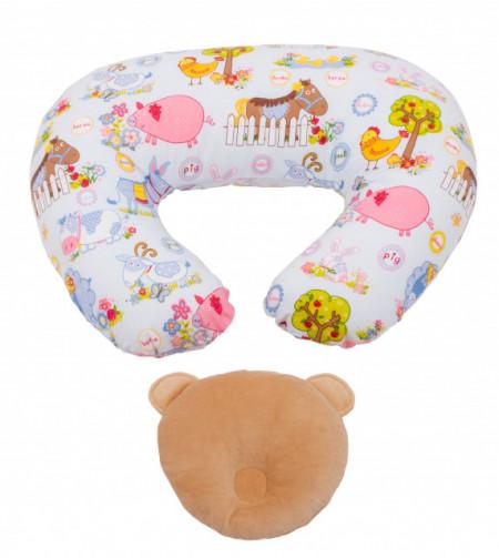 Perna pentru alaptat Bebebdeco Ferma animalelor + Perna cap bebe