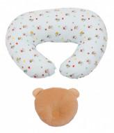 PACHET PROMO Perna pentru alaptat Snoopy Catelusul verde + Perna bebe pentru formarea capului bej
